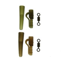TARGET MIXED SIZE 12 SWIVELS, MINI LEAD CLIPS AND TAIL RUBBERS NATURAL BROWN (5)
