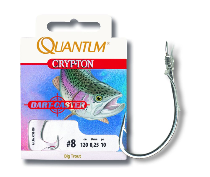 #10 Crypton Big Trout Vorfachhaken silber 0,25mm 120cm 10 шт